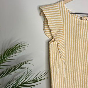 Farrow Yellow White Striped Pullover Blouse Top S